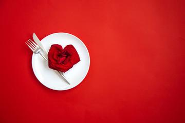 Valentine's day romantic dinner congratulation. Selective focus.
