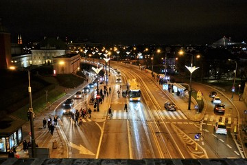 Cityscape, night view from Old Town of the route W-Z (East-West route), Warsaw, Poland.  Evening...
