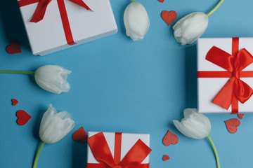 Wall Mural - White tulips hearts gifts card