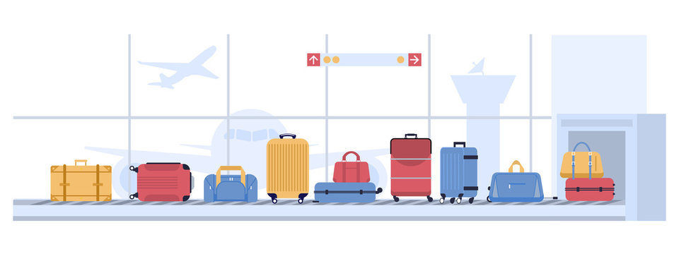 Luggage airport carousel. Baggage suitcases scanning, luggage conveyor belt with bags and suitcases. Airline flight transportation, airport x ray checkpoint inspection vector illustration