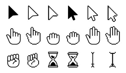 Pointer cursor icons. Computer web arrows mouse cursors and clicking line pointer cursor selecting. Pixel hand, pointer hand, arrow and hourglass logo vector isolated icons set