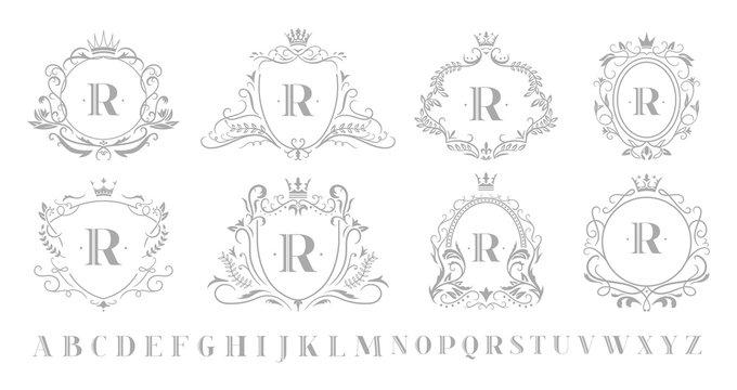Vintage monogram emblem. Retro art ornamental luxury emblems, royal crown monograms wreath and wedding swirls frame. Alcohol, hotel or jewelry logotype isolated vector illustration symbols set