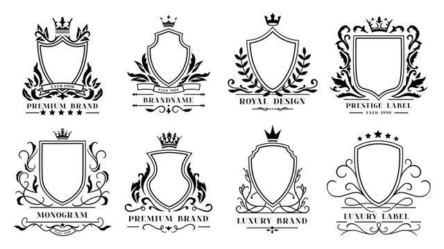 Royal shields badges. Vintage ornamental frames, decorative royal swirl heraldic borders and luxury filigree wedding emblems. Knights shield heraldic decoration isolated vector icons set