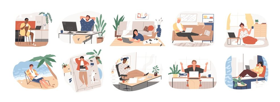 Freelance people work in comfortable conditions set vector flat illustration. Freelancer character working from home or beach at relaxed pace, convenient workplace. Man and woman self employed concept