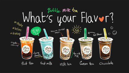bubble tea flavors illustration with slogan