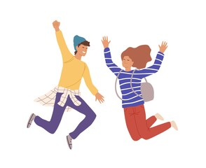 Two smiling teenage people jumping raising hands vector flat illustration. Cartoon young male and female having positive emotion isolated on white background. Rejoicing couple character