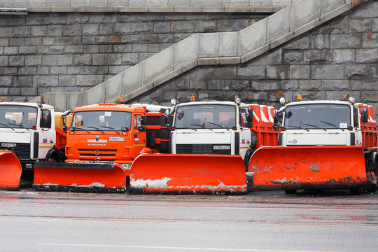 Moscow, Russia - January, 2020: Snow plows ready for snow removal, Kamaz snowplows in a parking lot near the Moscow Kremlin