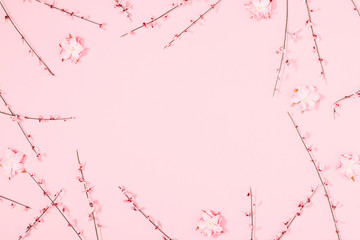 Beautiful flowers composition. Pink flowers on pastel pink background. Valentines Day, Easter,...
