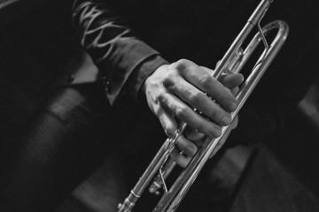 Close up of man playing trumpet