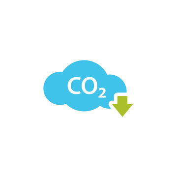 CO2 reduction cloud icon. Clipart image isolated on white background