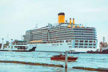 view of cruise liner in city bay