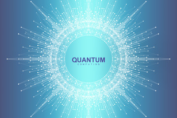 Scientific vector illustration quantum computer technology. Plexus fiction effect. Deep learning artificial intelligence. Big data algorithms visualization. Quantum explosion background. Wall mural
