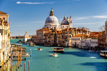 Poster Venetie Grand Canal with Basilica di Santa Maria della Salute in Venice, Italy. View of Venice Grand Canal. Architecture and landmarks of Venice.