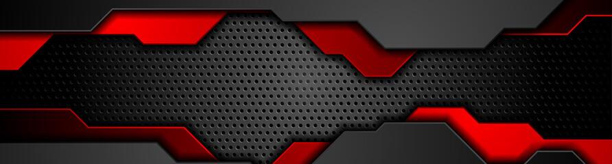 Composition of dark futuristic elements on black background. Chrome metallic perforated texture design. Technology geometric illustration. Vector header banner