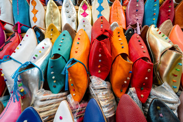 Colorful slippers sold in old town of Marrakech, Morocco