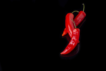 Aluminium Prints Hot chili peppers Red chili peppers on black background. Three hot chili peppers and copy space. Food concept.