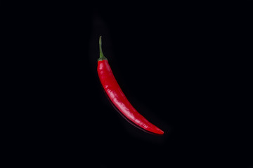 Aluminium Prints Hot chili peppers Red chili pepper on black background. One hot chili pepper and copy space. Fresh spicy ingredient for cooking.