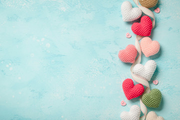 Valentine's Day background with colorful hearts