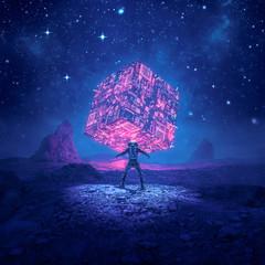 Cosmic monolith of power / 3D illustration of retro science fiction scene showing astronaut encountering glowing alien computer artefact on desert planet