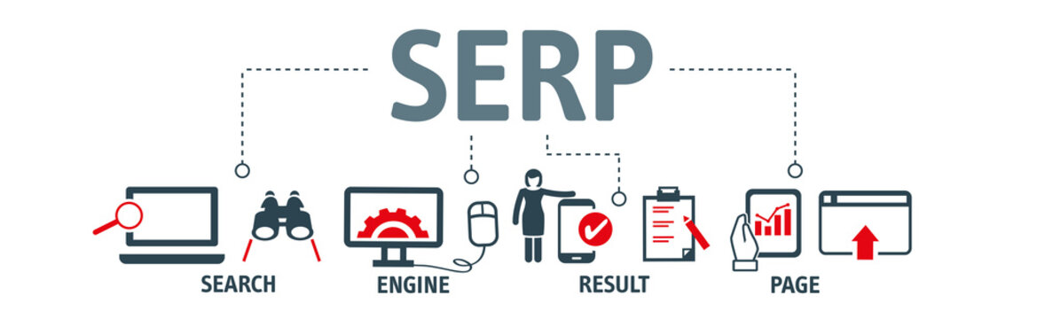 Banner SERP Search Engine Result Page - vector illustration concept