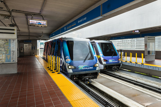Miami, FL, USA - April 19, 2019: Metromover in Downtown Miami. Metromover is a free public transit automated people mover train system operated by Miami-Dade in Miami, FL, USA.