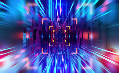 Digital technology. High speed data transfer. Information flow in 3D illustration. Movement in futuristic neon cyberspace Fototapete