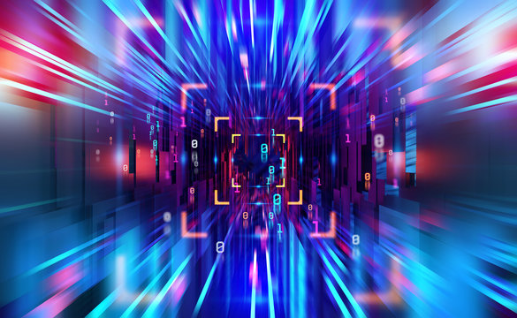 Digital technology. High speed data transfer. Information flow in 3D illustration. Movement in futuristic neon cyberspace