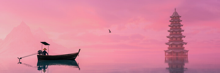 Foto op Canvas Candy roze fisherman with sailing with his boat