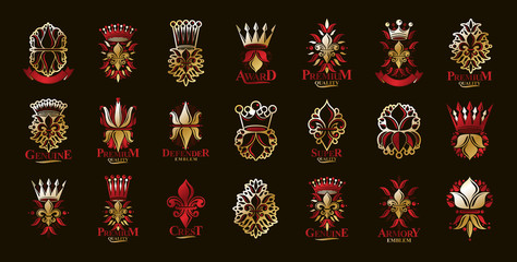 De Lis and crowns vintage heraldic emblems vector big set, antique heraldry symbolic badges and awards collection with lily flower symbol, classic style design elements, family emblems. Wall mural