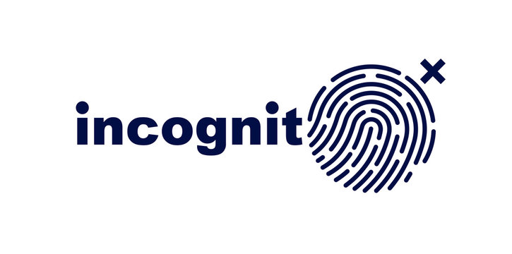 Finger print vector simple logo or icon, incognito man concept, unidentified person, people search, biometric identification.