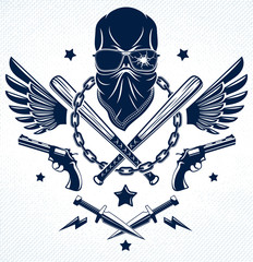 Criminal tattoo ,gang emblem or logo with aggressive skull baseball bats and other weapons and design elements, vector, bandit ghetto vintage style, gangster anarchy or mafia theme.