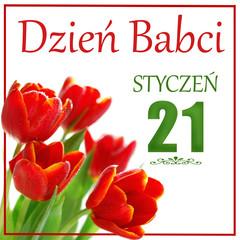 greeting card with text in polish language Grandma Day January 21th