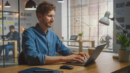 Handsome Creative Male in Jeans Shirt Works on a Laptop in His Sunny Loft Office. He Looks Cool and Smart, He Has a Beard. Colleague Works with Storyboard on the Background. Office Has a Big Window.