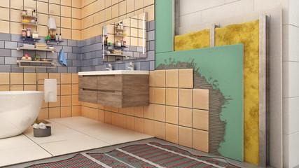 Walls and floor thermal insulation in bathroom interior, 3d illustration