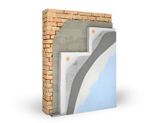 Obraz Layered scheme of exterior wall insulation with polystyrene foam, 3d illustration - fototapety do salonu