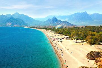 Foto op Plexiglas Blauwe jeans Summer Beach At Antalya Turkey - Travel Background