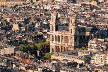 Fototapete - Aerial view of Saint Sulpice church in Paris, France