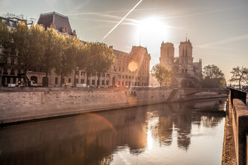 Fototapete - Notre Dame cathedral against sunrise in Paris, France