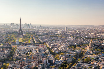 Fototapete - Panorama of Paris with Eiffel Tower against sunset in France