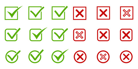 Large set of flat buttons green check marks and red crosses. EPS 10 Wall mural