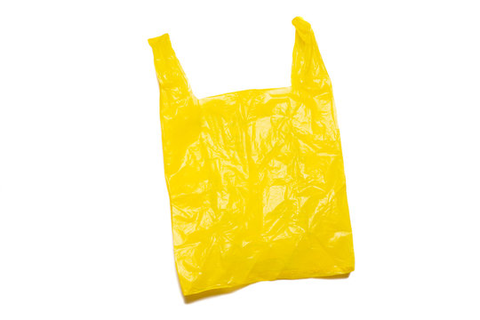 empty yellow plastic bag isolated in clipping path.