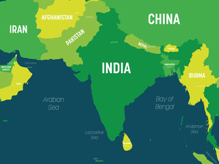 South Asia map - green hue colored on dark background. High detailed political map of southern asian region and Indian subcontinent with country, capital, ocean and sea names labeling