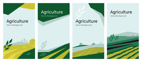 Cover design with agriculture or farming concept. Vector illustrations with farm land, field, spike of wheat. Set of banner backgrounds. Templates with tractor, harvest, hayfield for flyer, poster, ad Papier Peint