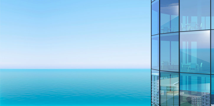 Facade of a skyscraper and sea view