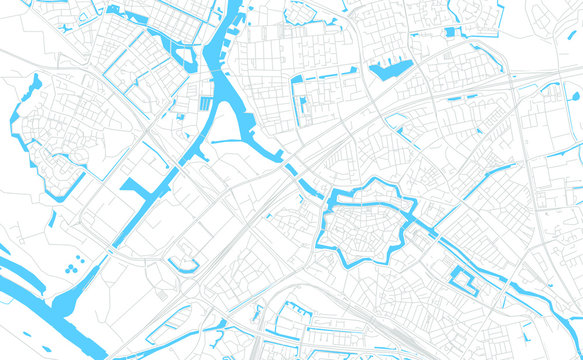 Zwolle, Netherlands bright vector map