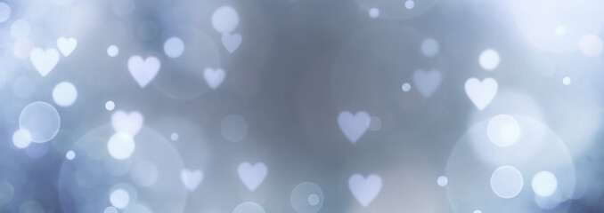 Abstract bokeh background banner with hearts - birthday, father's day, valentine's day panorama