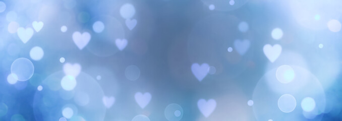 Fototapete - Abstract bokeh background banner with hearts - birthday, father's day, valentine's day panorama