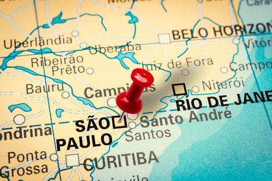 Pushpin pointing at Sao Paulo city in Brazil