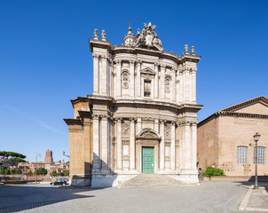 Fototapete - The church of Santi Luca e Martina with the remains of the Roman Forum. Rome, Italy.