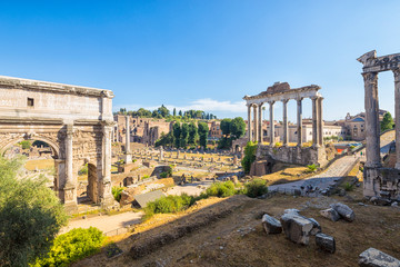Wall Mural - Ancient ruins of a Roman Forum or Foro Romano, Rome, Italy.